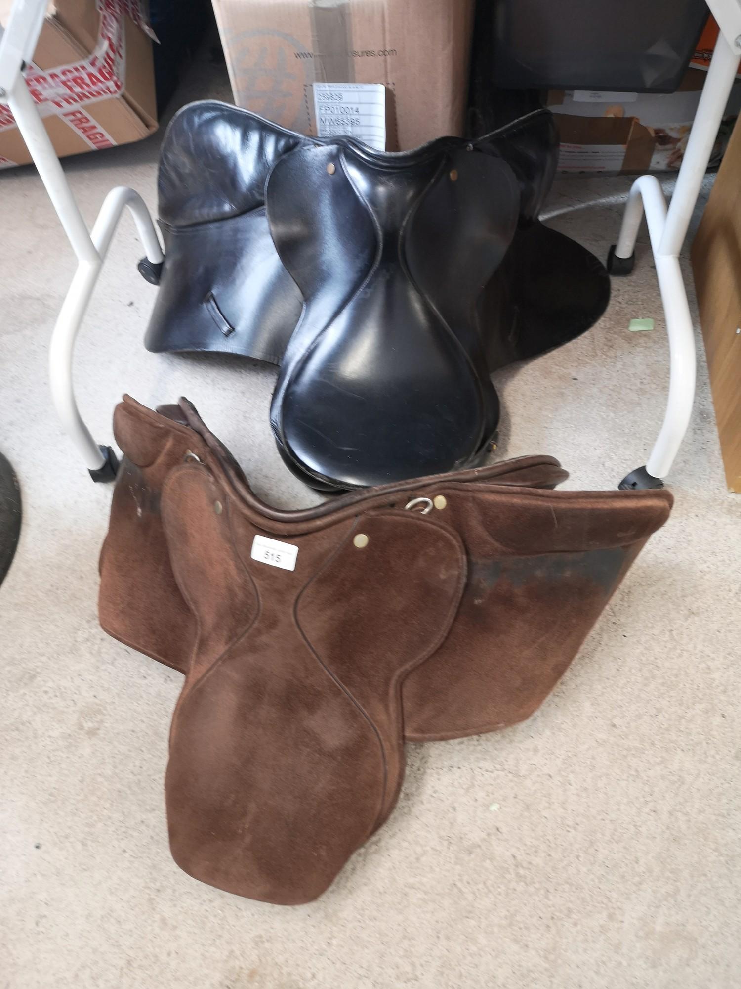 2 horse saddles.