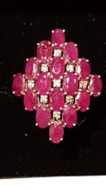 Absolutely Fantastic Diamond And Red Stone Ring Possibly Rubies No mark Tested on Shank 9ct or