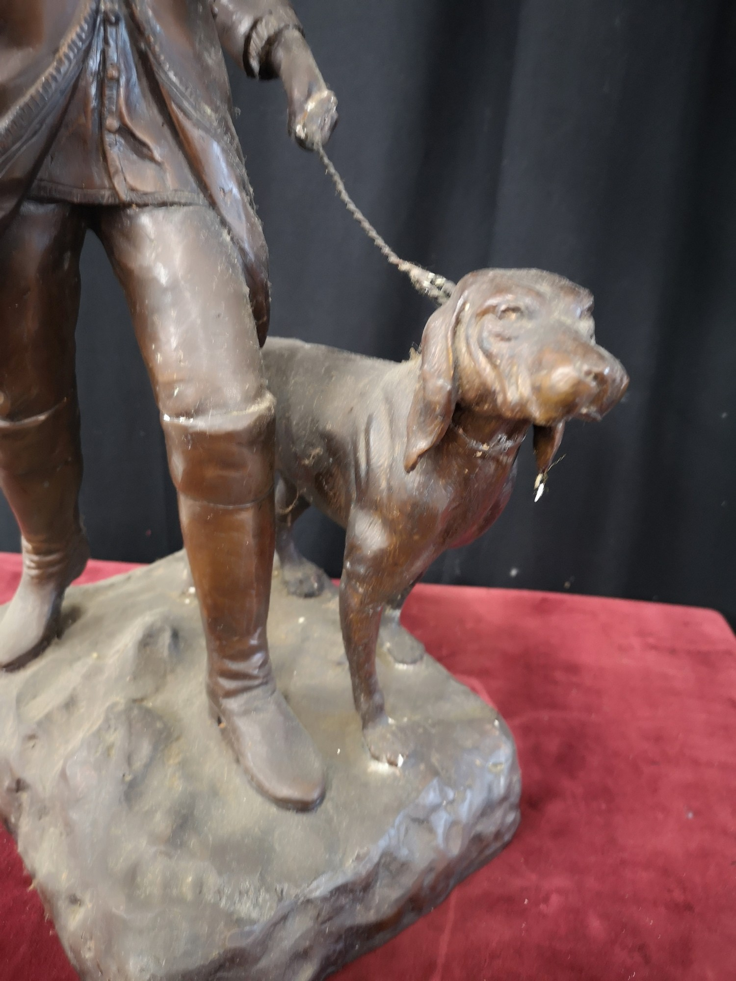 Large heavy 1900s Bronze study of soldier dog Figure 23.5 inches in height. Weighs 14kg. - Image 3 of 5