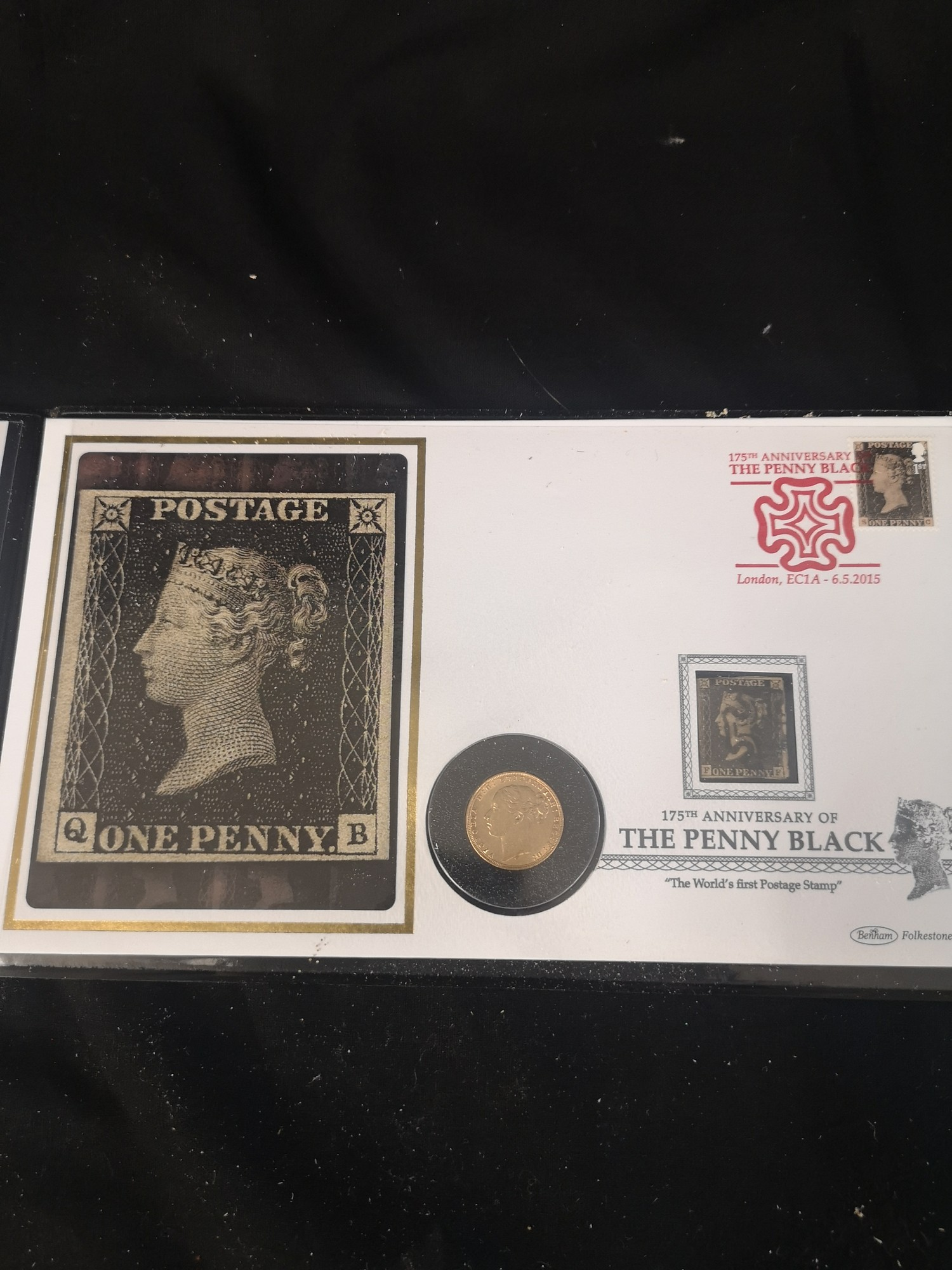 The 175th anniversary of the penny Black 22 - carat gold sovereign stamp presentation cover.. - Image 7 of 7