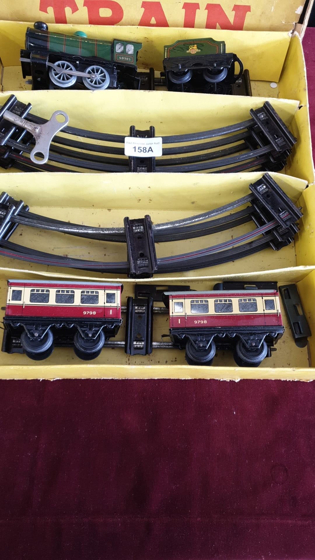 Boxed Horby O gauge clock work train set with track with original box complete with key. - Image 3 of 3