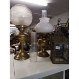 Early brass oil lamp together with brass oil style lamp been converted to electric together with