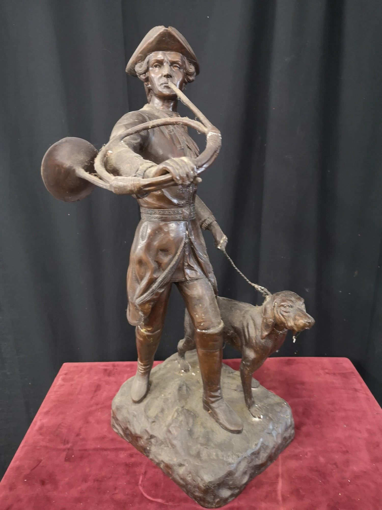 Large heavy 1900s Bronze study of soldier dog Figure 23.5 inches in height. Weighs 14kg.