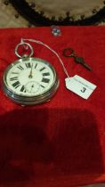 Large chester silver Hall marked pocket watch with fusee movement AD John Tunstall winds ticks and