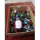 Large box of playworn cars.