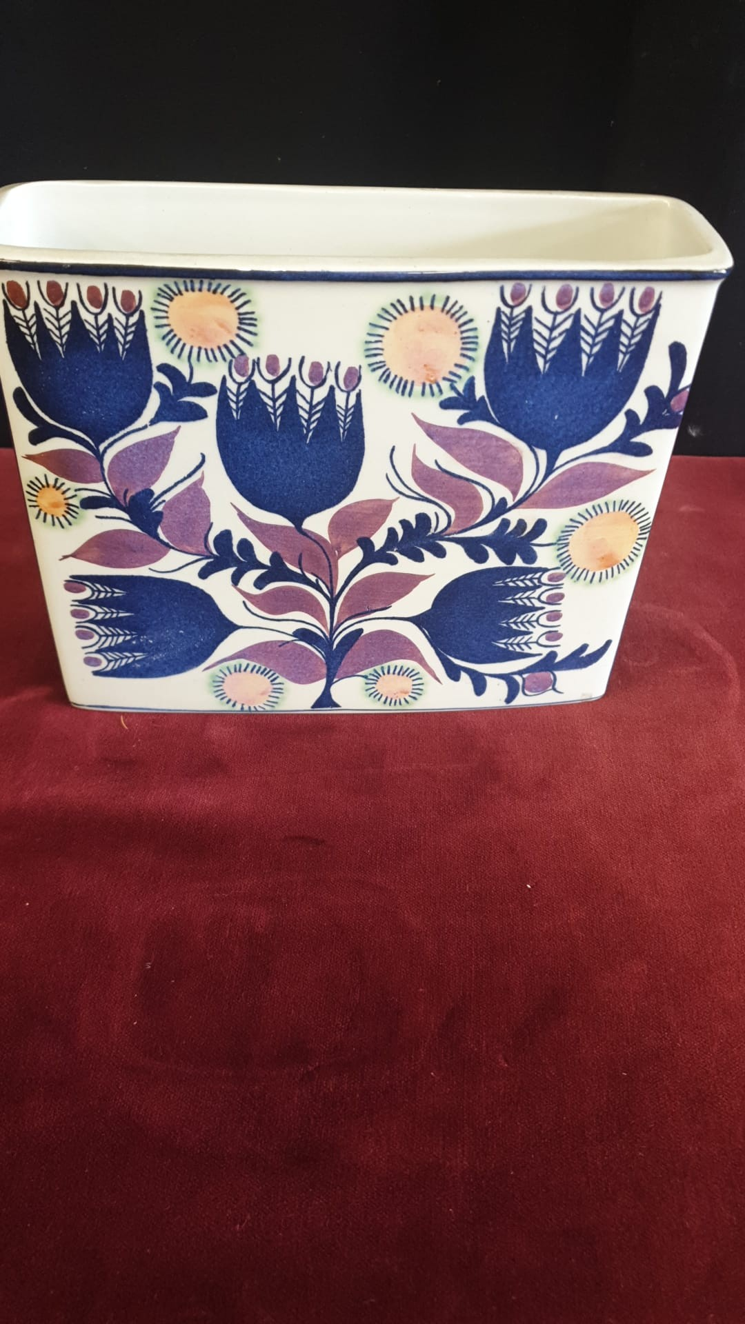 Rare Retro Royal Copenhagen Vase Stands 17cm Tall Faiance Pattern Signed By Artist - Image 2 of 4