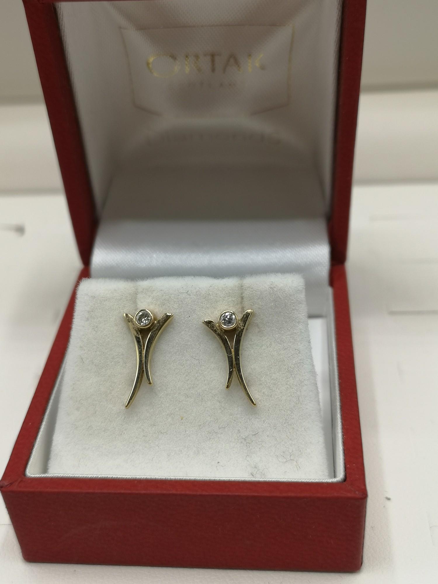 9ct gold ortak earrings set with diamonds. - Image 2 of 2