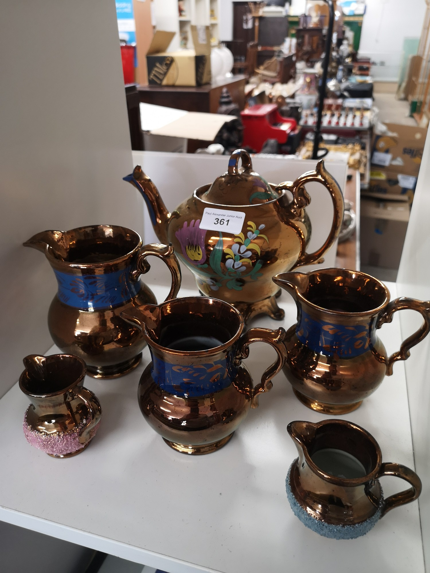 Collection of victorian lustre wares.