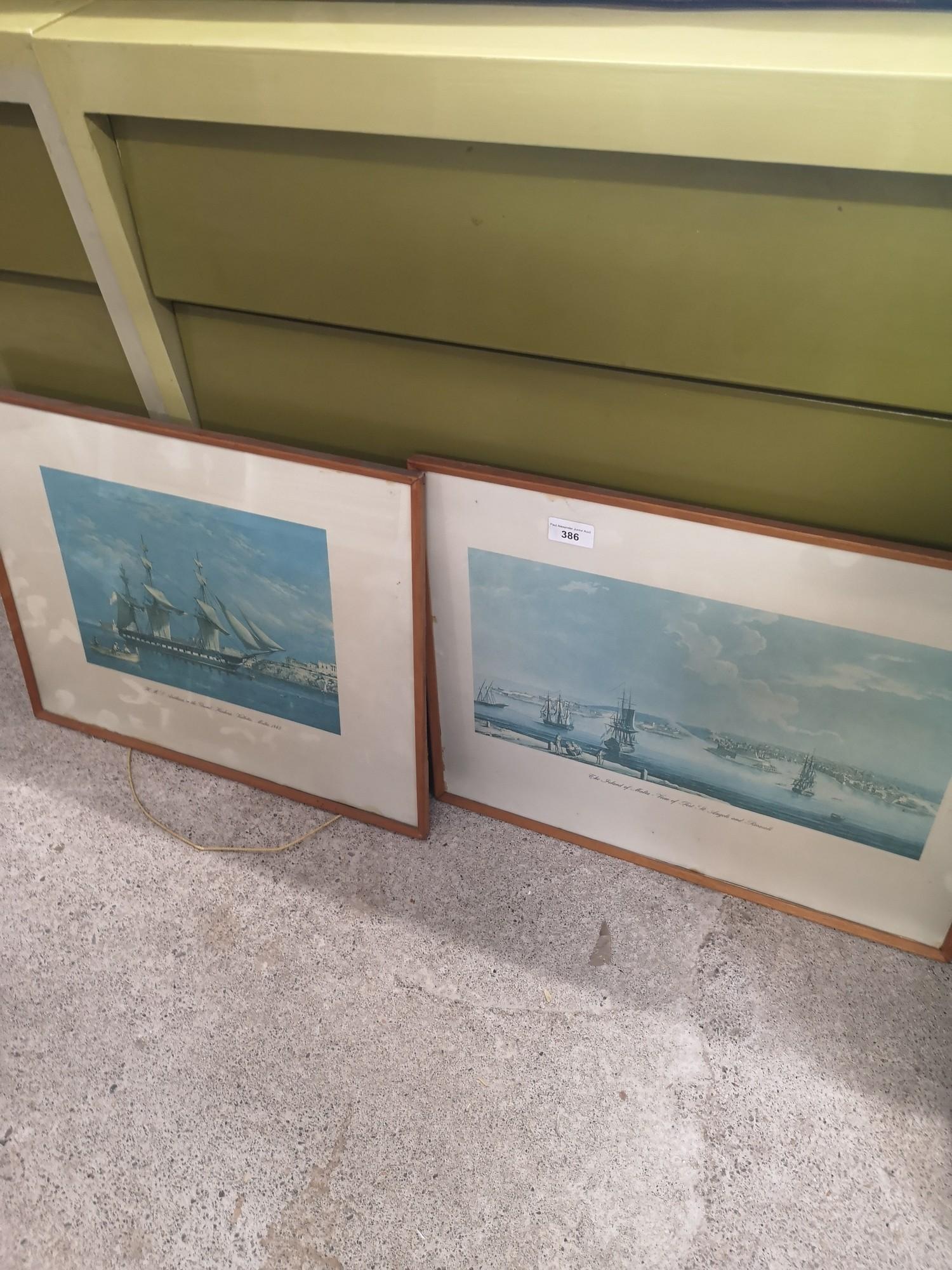 2 boat scene prints.
