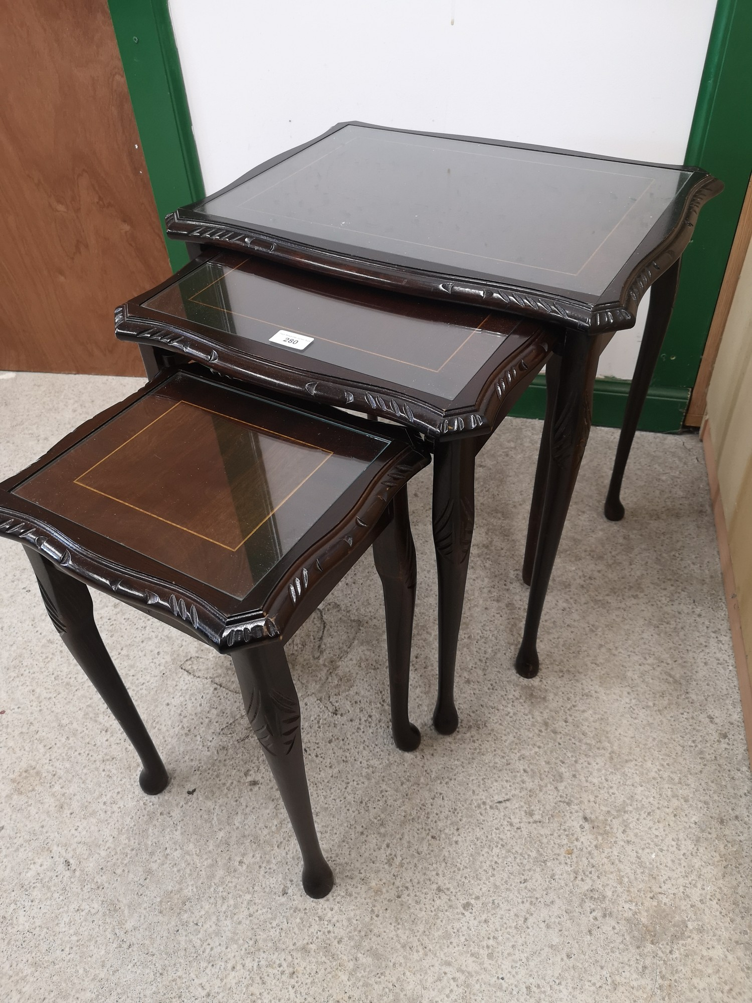 Nest of 3 tables with glass topped preserves. - Image 2 of 2
