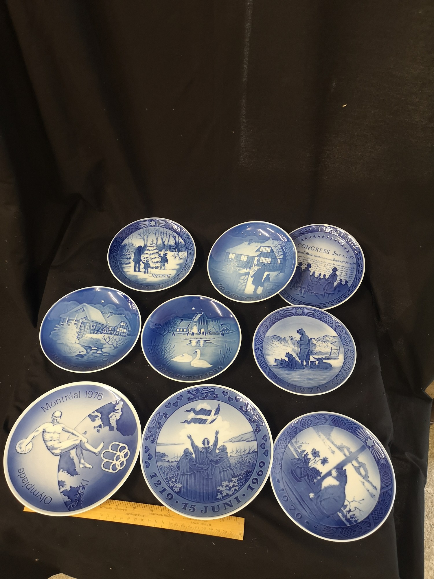 Collection of Royal Copenhagen Christmas plates. 1969 70s.