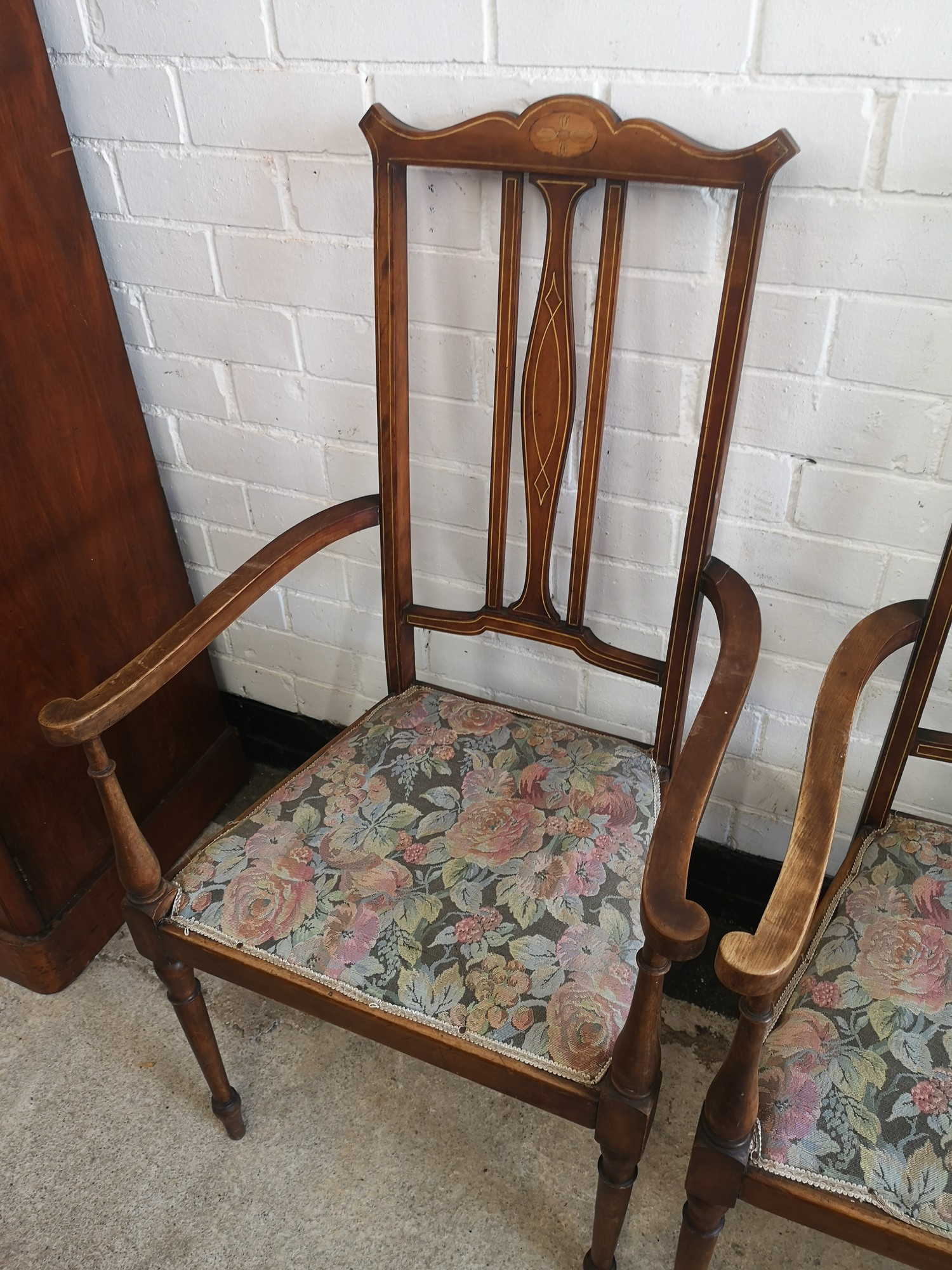 Pair of beautiful Edwardian arm chairs with inlays to backing. - Image 4 of 4