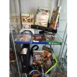 Xbox 360 slim console with power supply, controller, kinnect, games includes playstation 4 games and