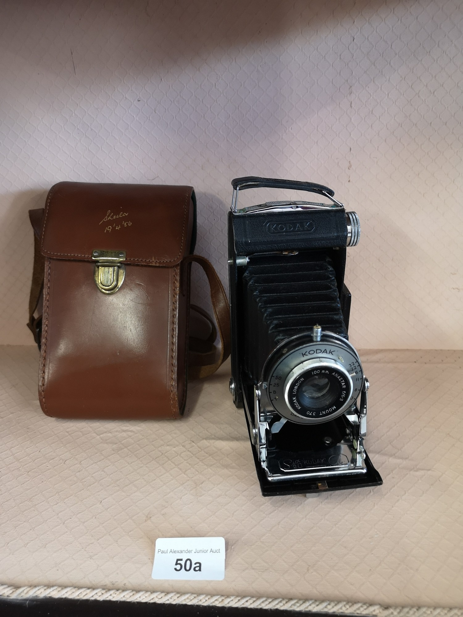 Kodak London bellows camera together with case.