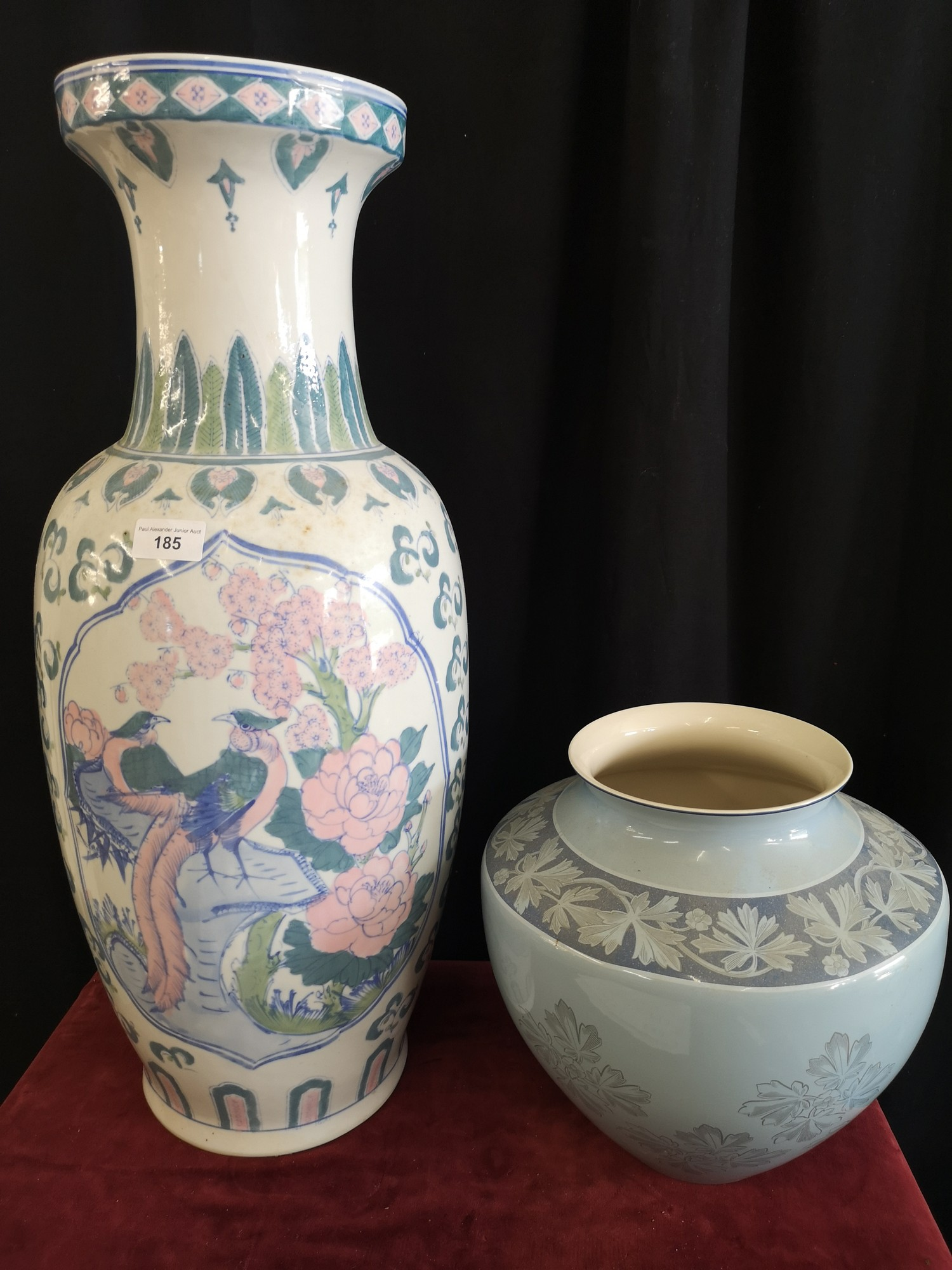 Large Oriental vase together with wedgewood vase both as found.