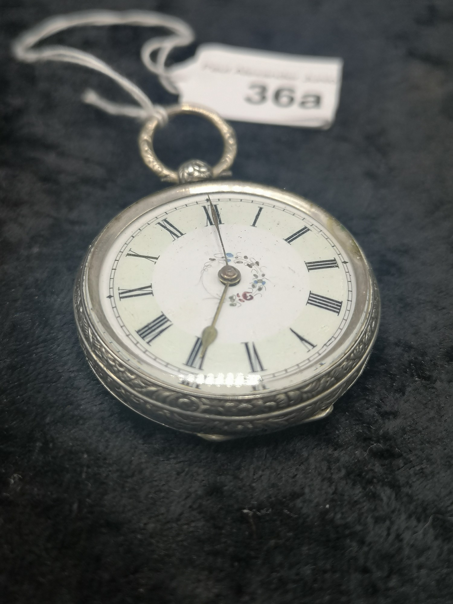 Ladies Silver Pocket Watch With Enamel Face With Floral Centre Decoration - Image 2 of 2