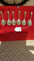 Set of 6 Silver Hall marked sheffield spoons makers GB & S weighs 74 grams.