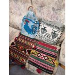 Collection of kilim style ladies bags etc.