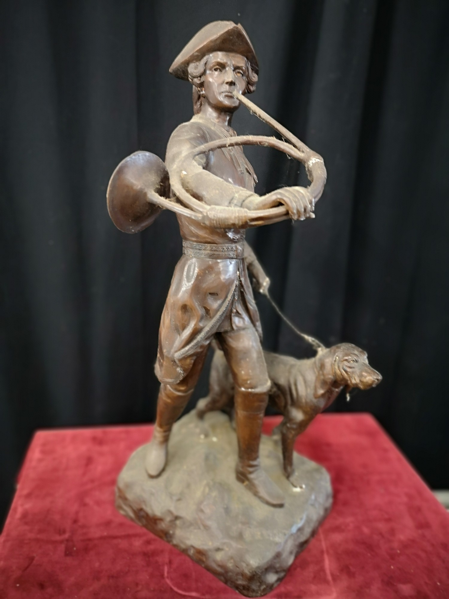 Large heavy 1900s Bronze study of soldier dog Figure 23.5 inches in height. Weighs 14kg. - Image 5 of 5
