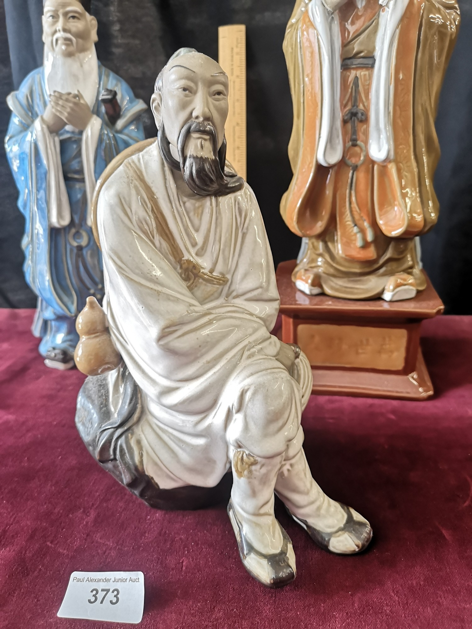 Large Oriental figure on plinth stand together with 2 large oriental figure. - Image 3 of 5