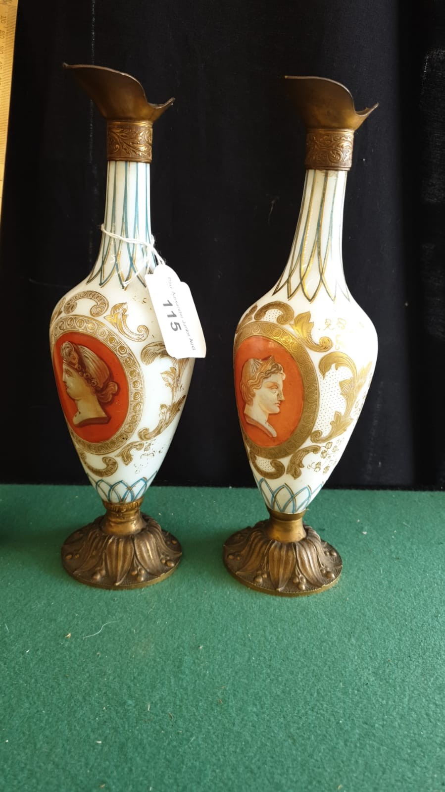 Pair Of Opaque Panel Painted Milk Glass Ewers With Metal Fixings.