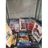 Shelf of PlayStation 2 games.