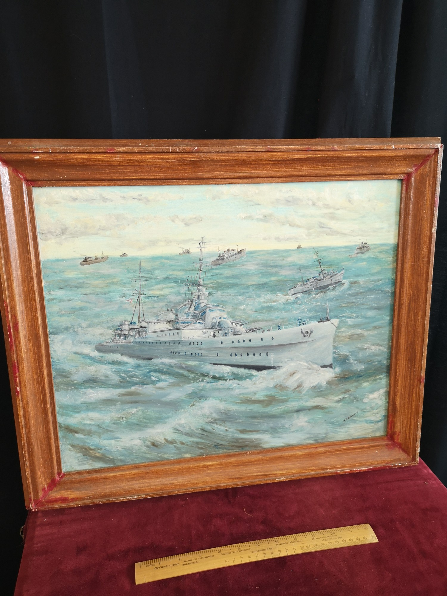 Large oil Painting depicting Royal navy war ships signed K H Locket. 22 inches in length by 18