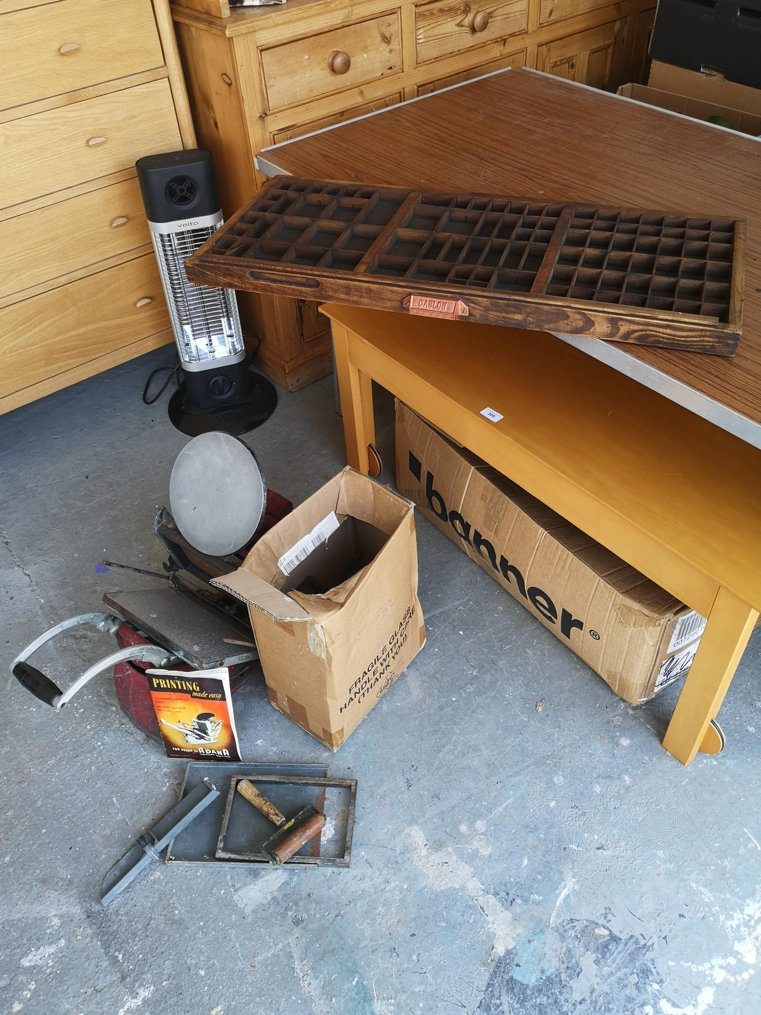 Vintage adana print block / paint tool together with print block drawer etc.