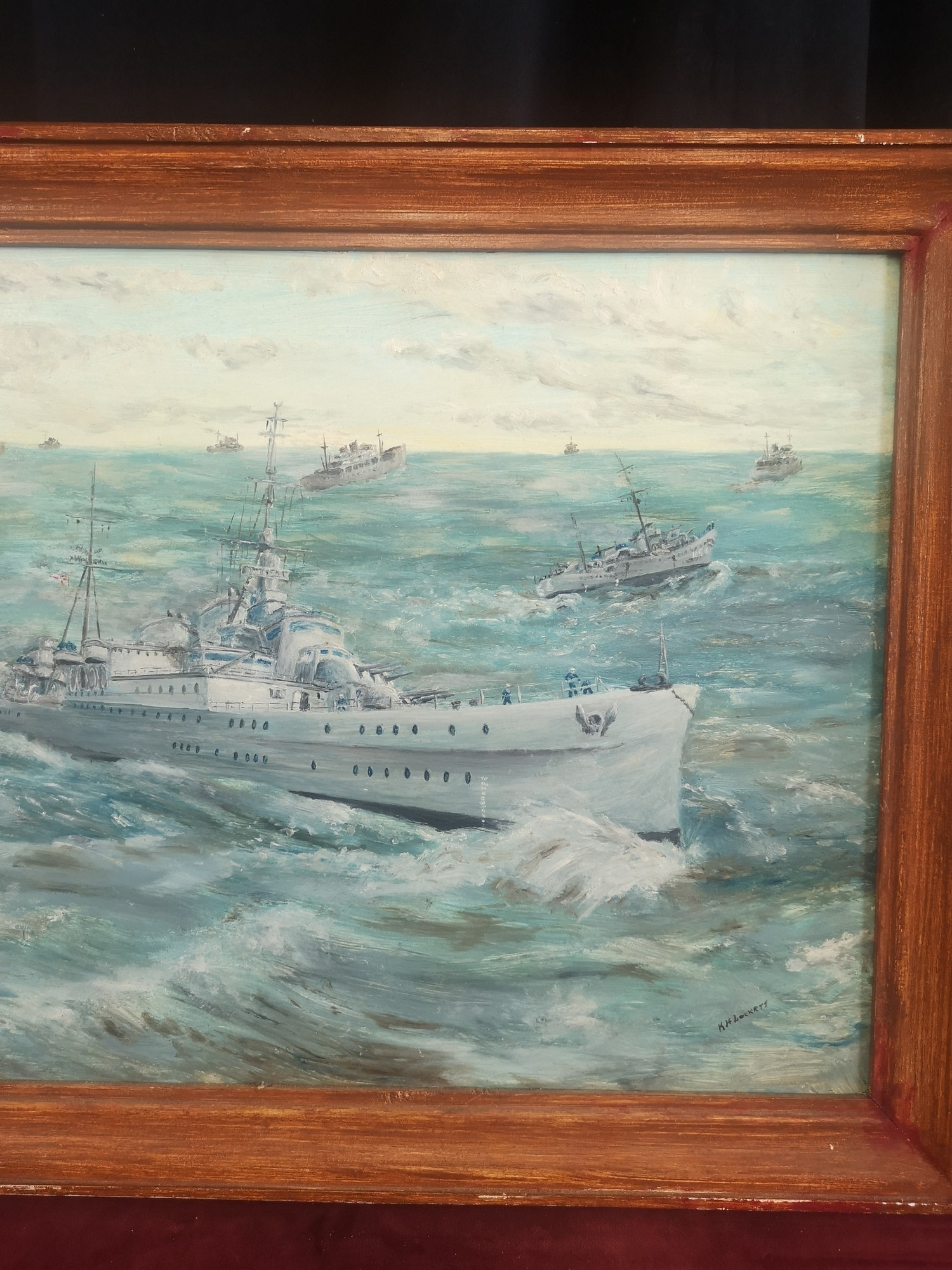 Large oil Painting depicting Royal navy war ships signed K H Locket. 22 inches in length by 18 - Image 3 of 4