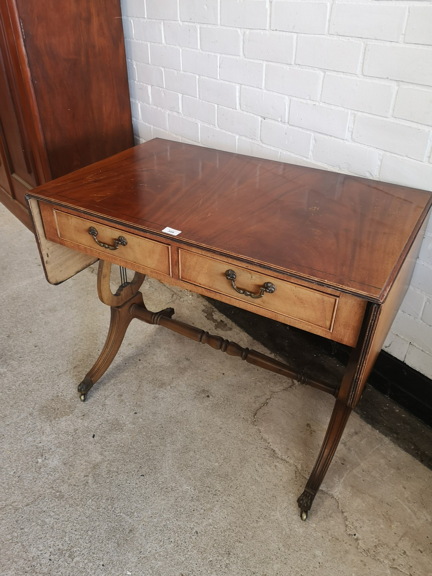 Reproduction drop leaf liar end table with 2 drawers. 5ft extended out with leafs in length. - Image 2 of 7