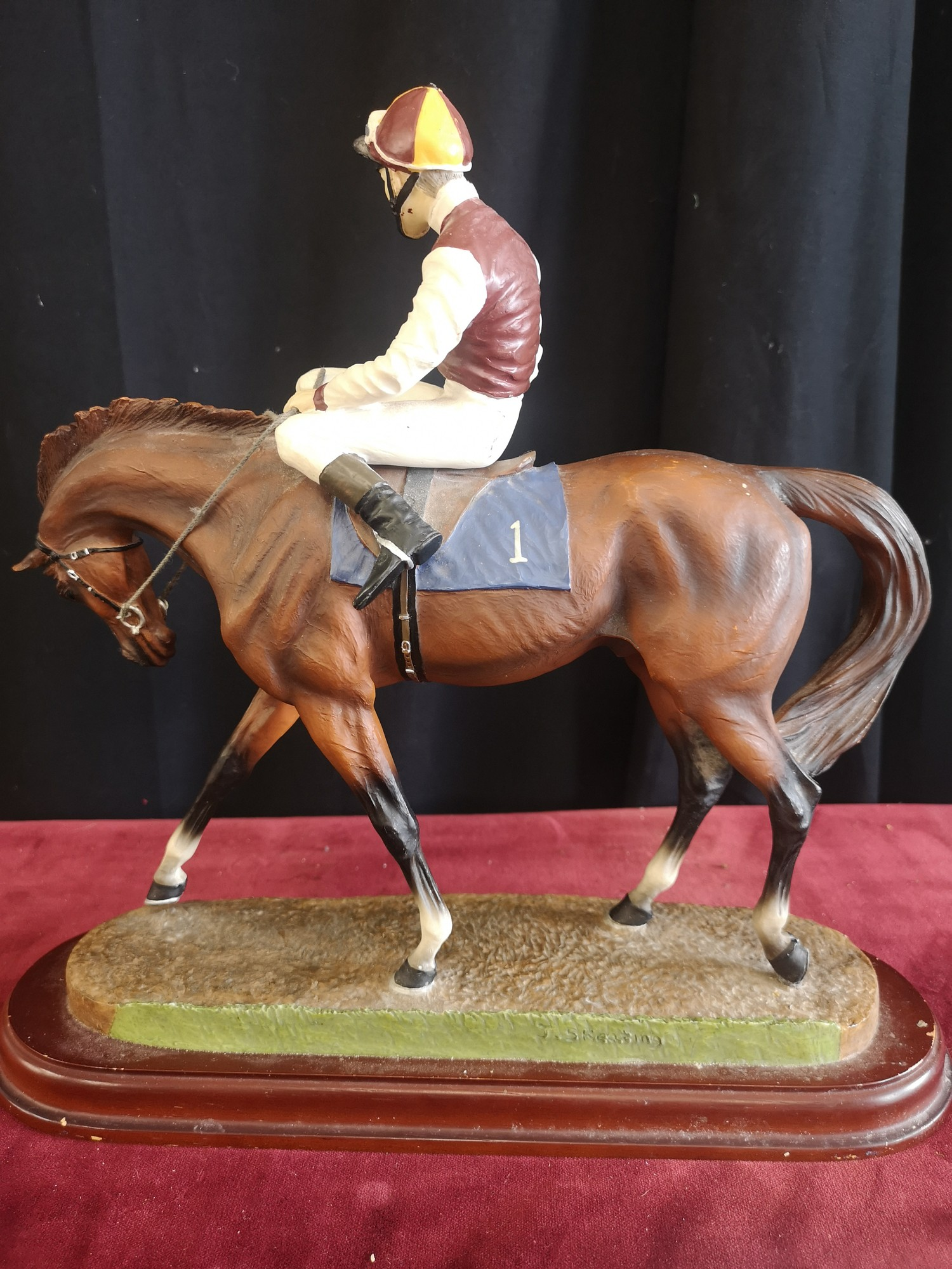 Signed John skeating limited edition horse with Jockey on plinth. - Image 2 of 3