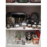 2 shelfs of silver plated items etc.