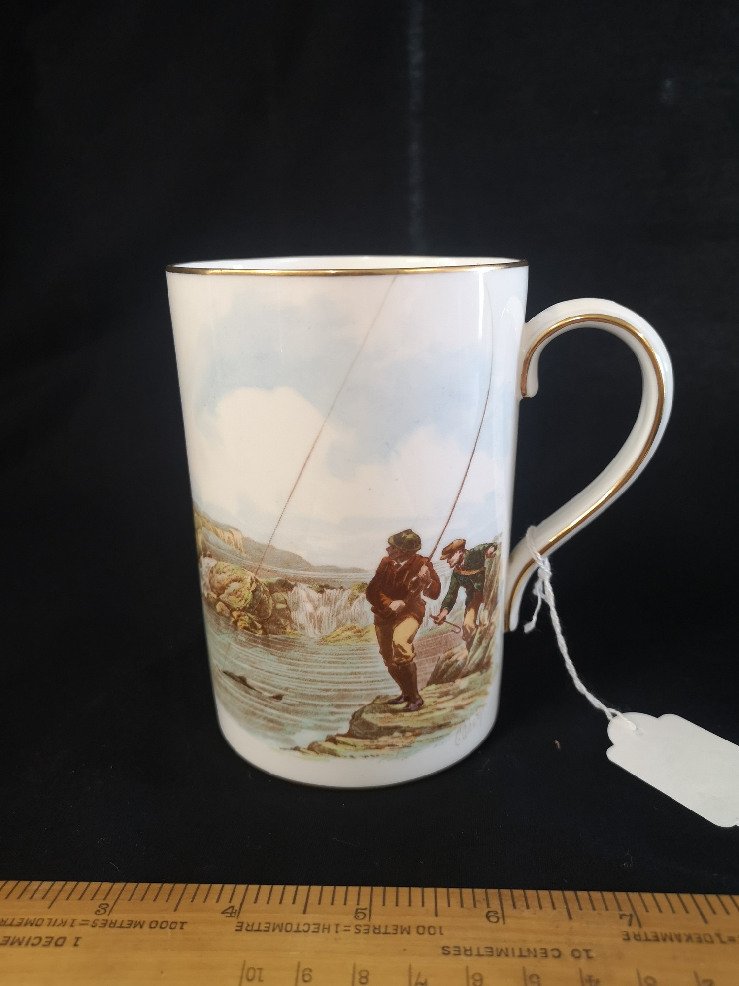 Early Royal Crown derby fisherman s tankard salmon fishing the one that didnt get away . signed .
