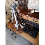 Lot of vintage camera to include velbon tripod.