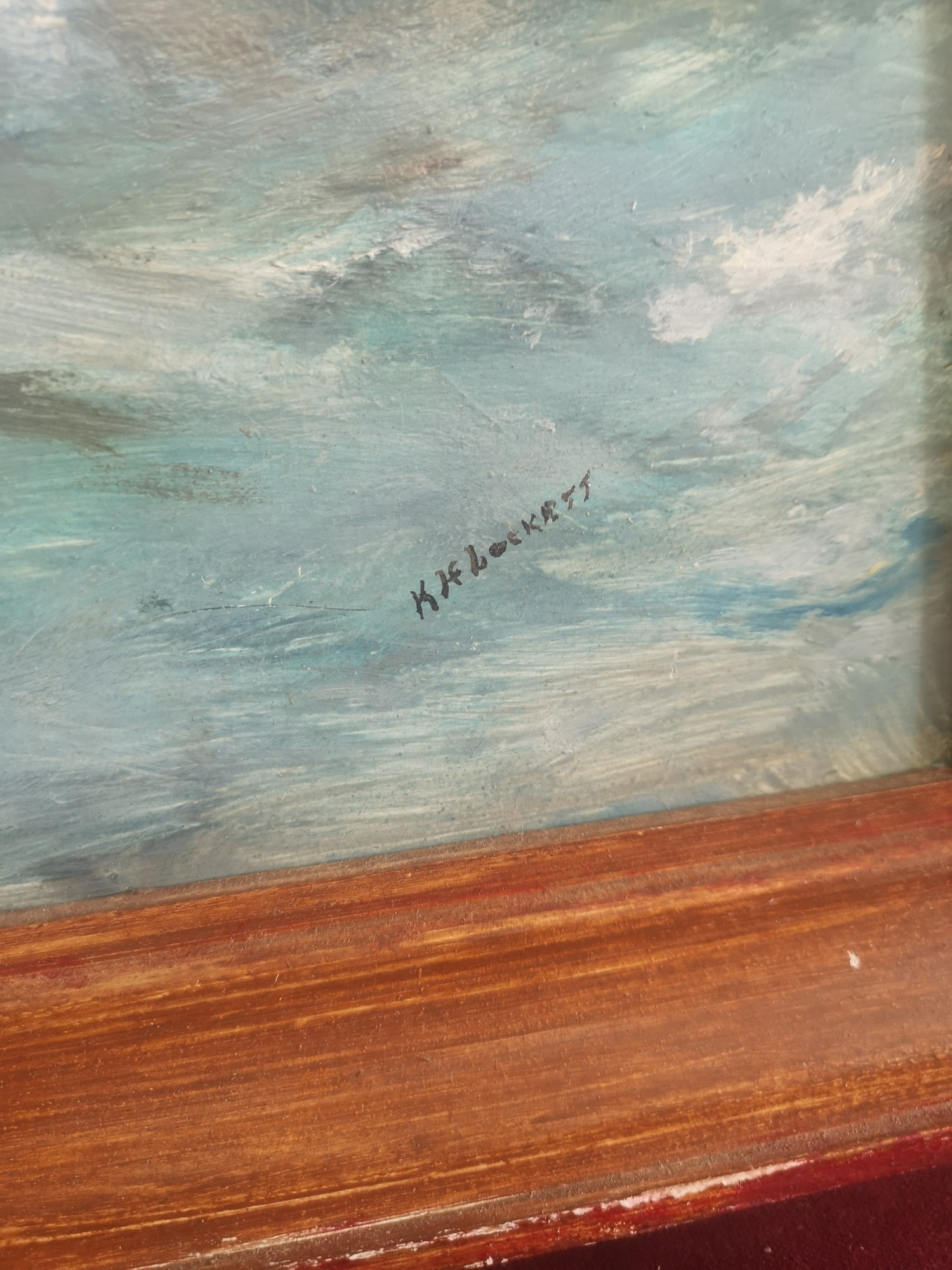 Large oil Painting depicting Royal navy war ships signed K H Locket. 22 inches in length by 18 - Image 4 of 4