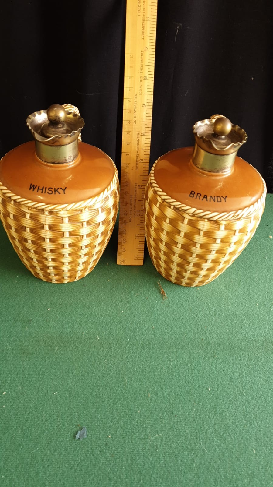 Pair Of Victorian Glazed Pottery Flagons With Silver Plated Pourers And Stoppers. - Image 2 of 3