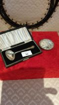 Silver Hall marked child's feeding spoon with original box together with silver Hall marked highly