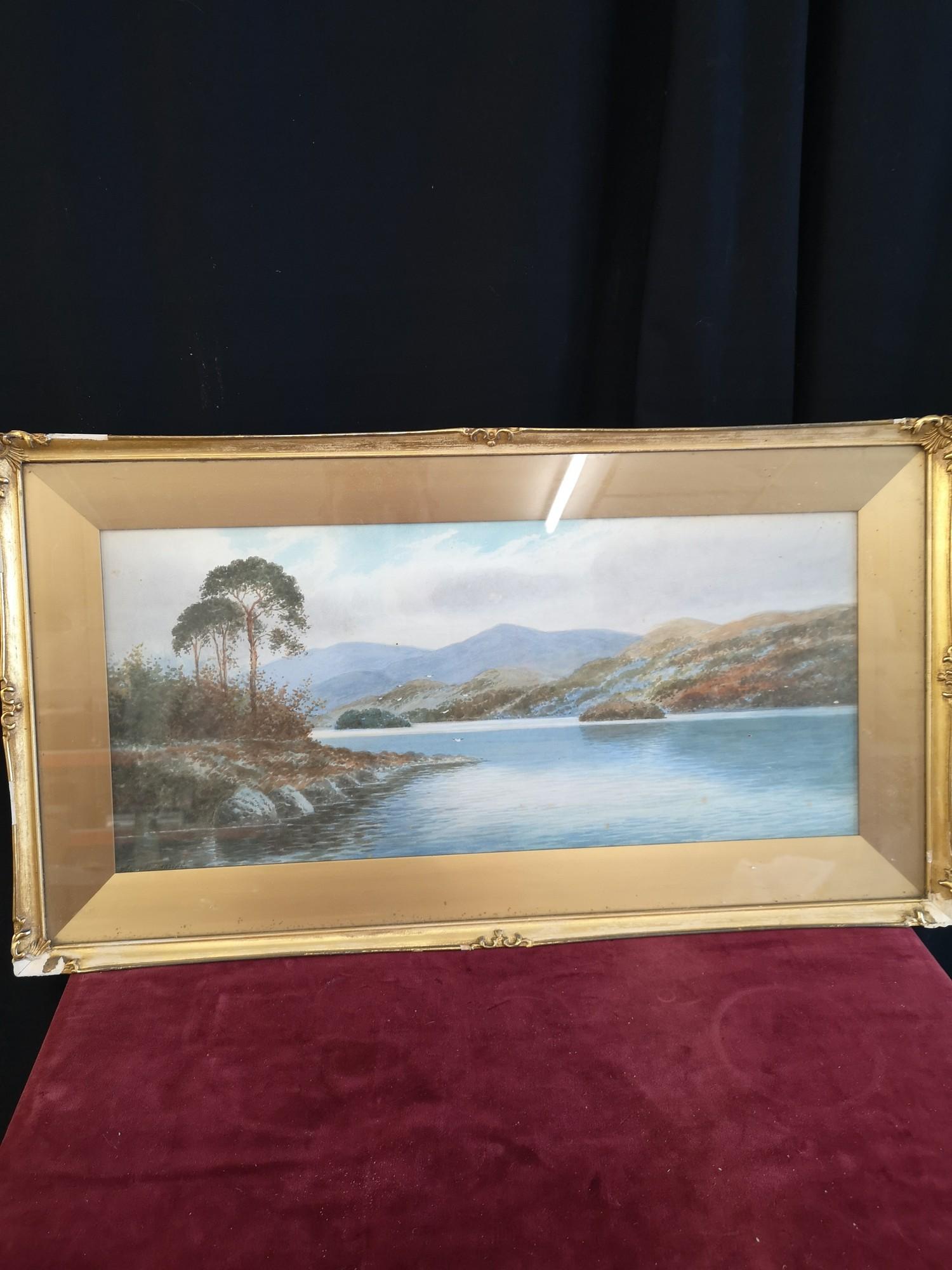 Scottish water colour of loch Highland scene signed Annette Darsons. In gilt frame.