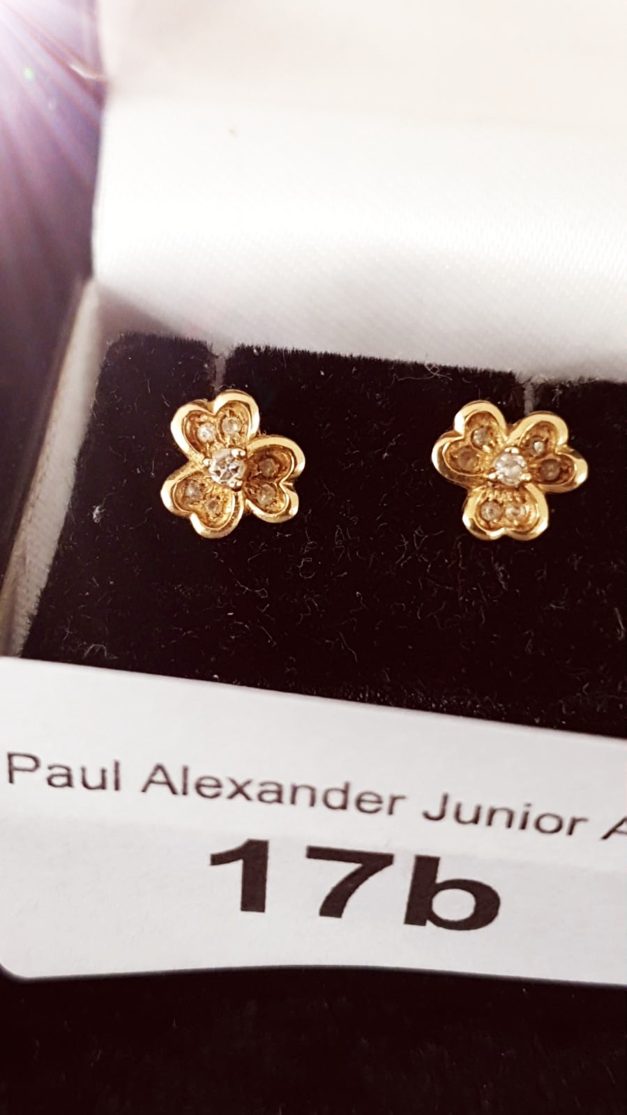 Pair of 9ct gold Clover leaf diamond earrings .
