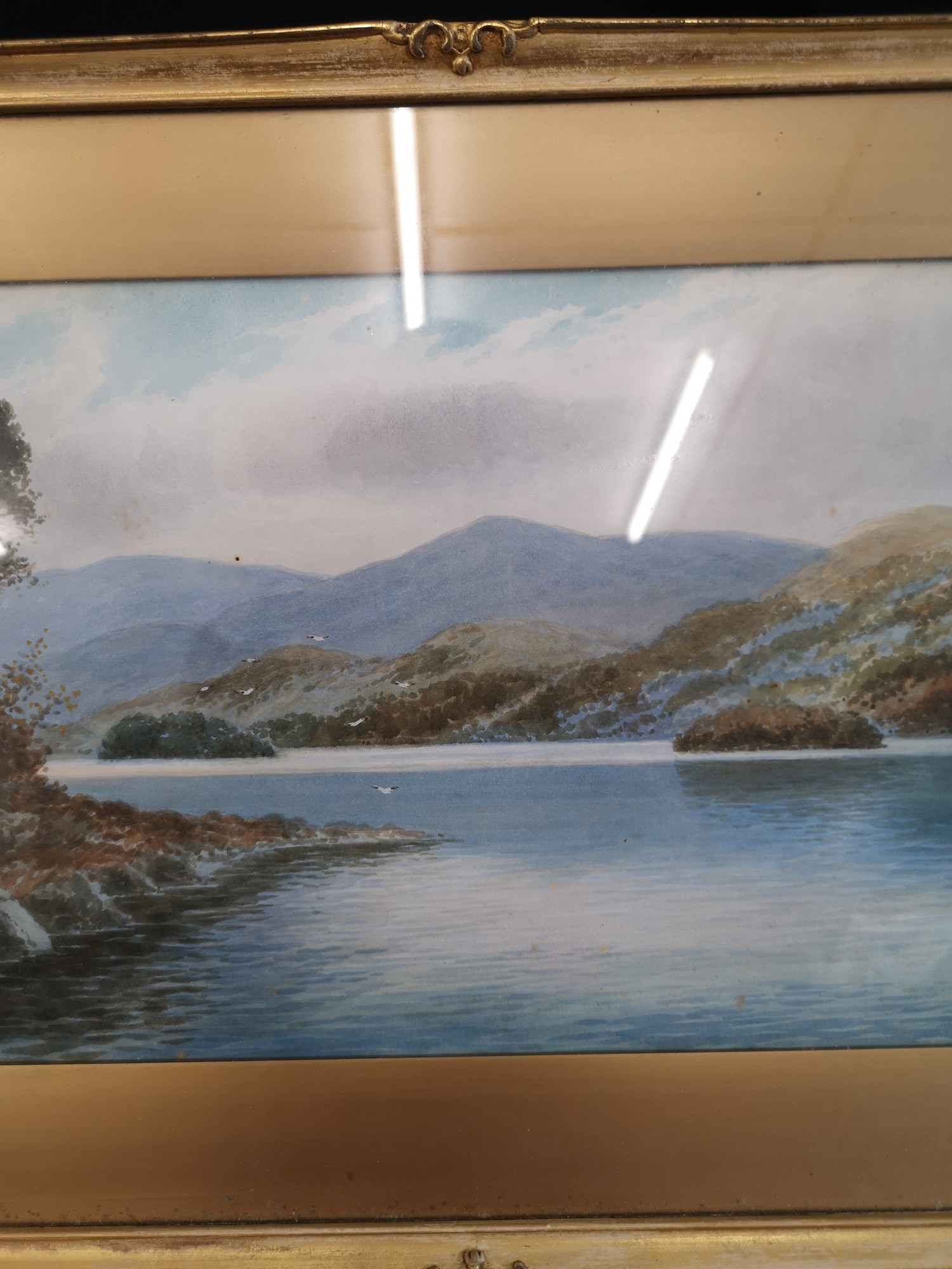 Scottish water colour of loch Highland scene signed Annette Darsons. In gilt frame. - Image 3 of 4