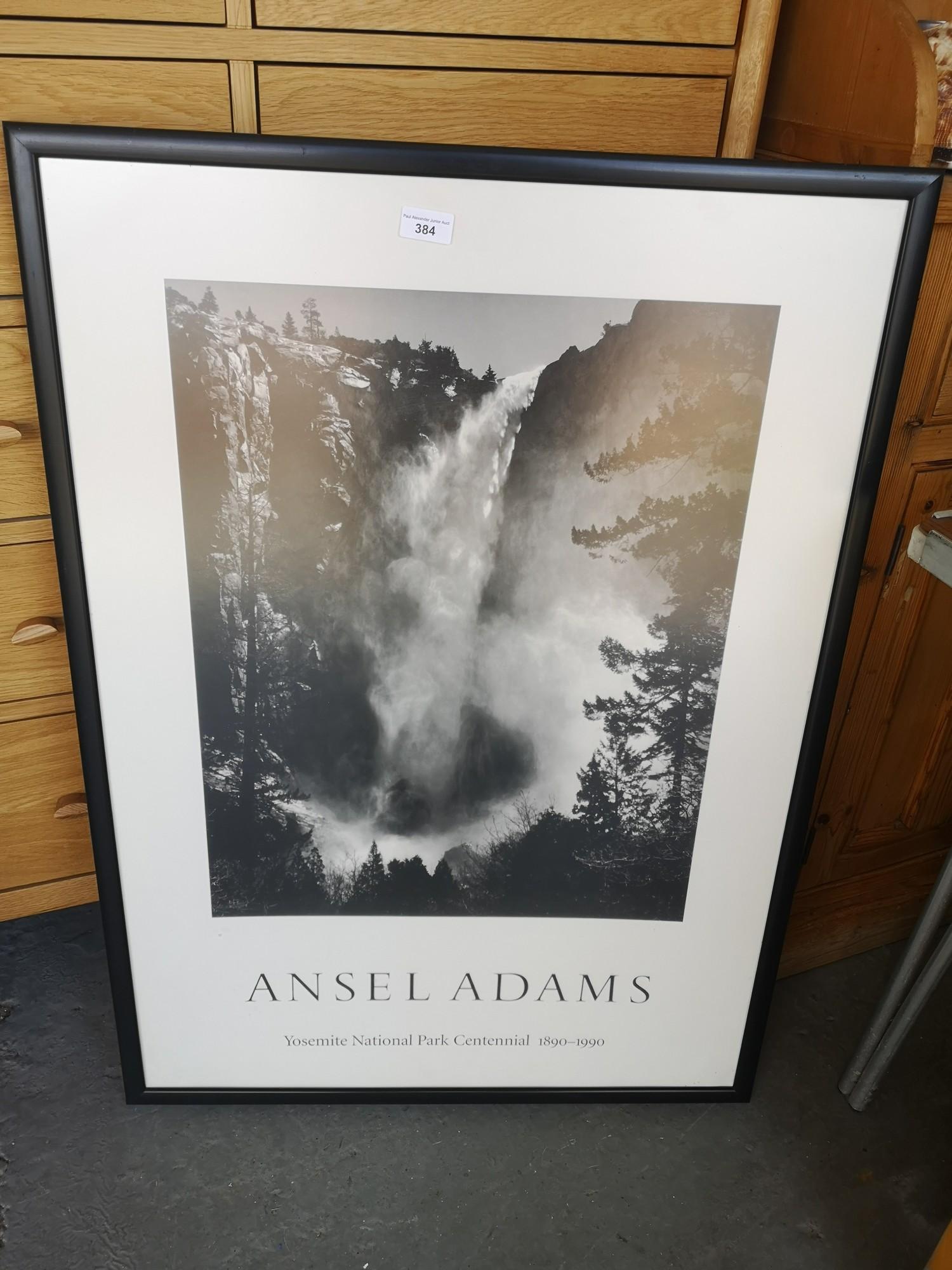 Ansel Adams print in frame.