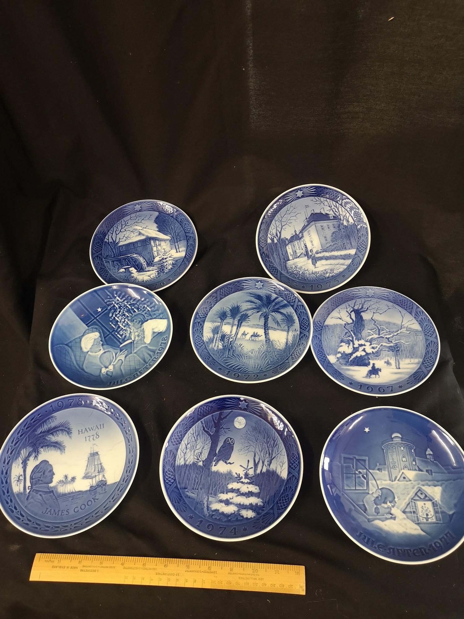 Collection of royal Copenhagen Christmas plates. 1970s.