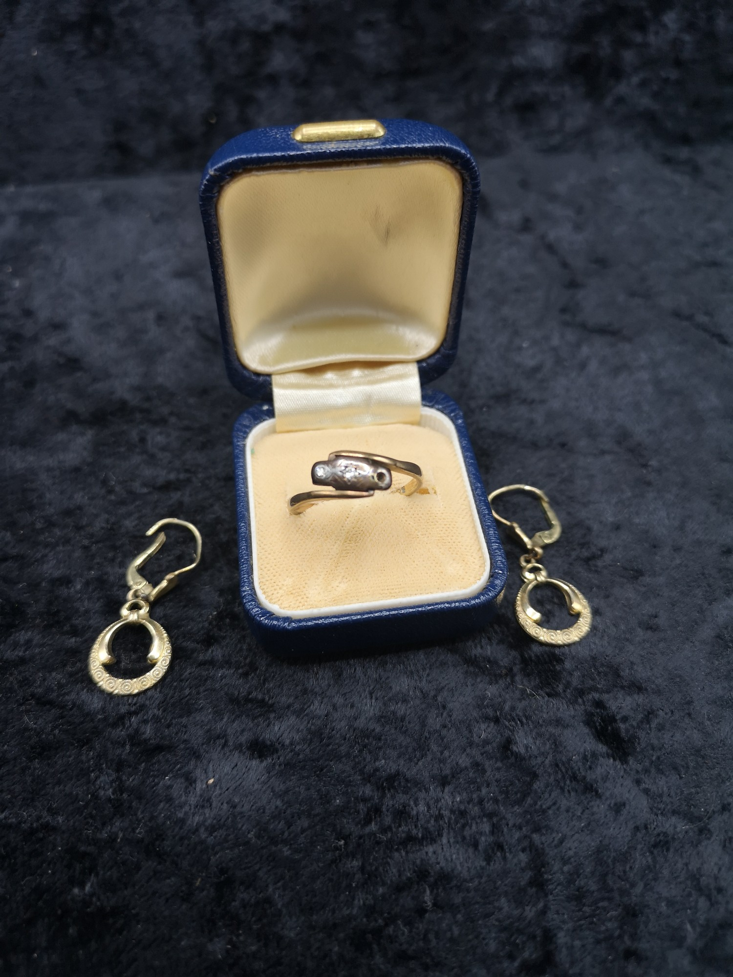 Pair of 9ct gold earrings together with 9ct gold gold hall marked ring with diamonds one stone