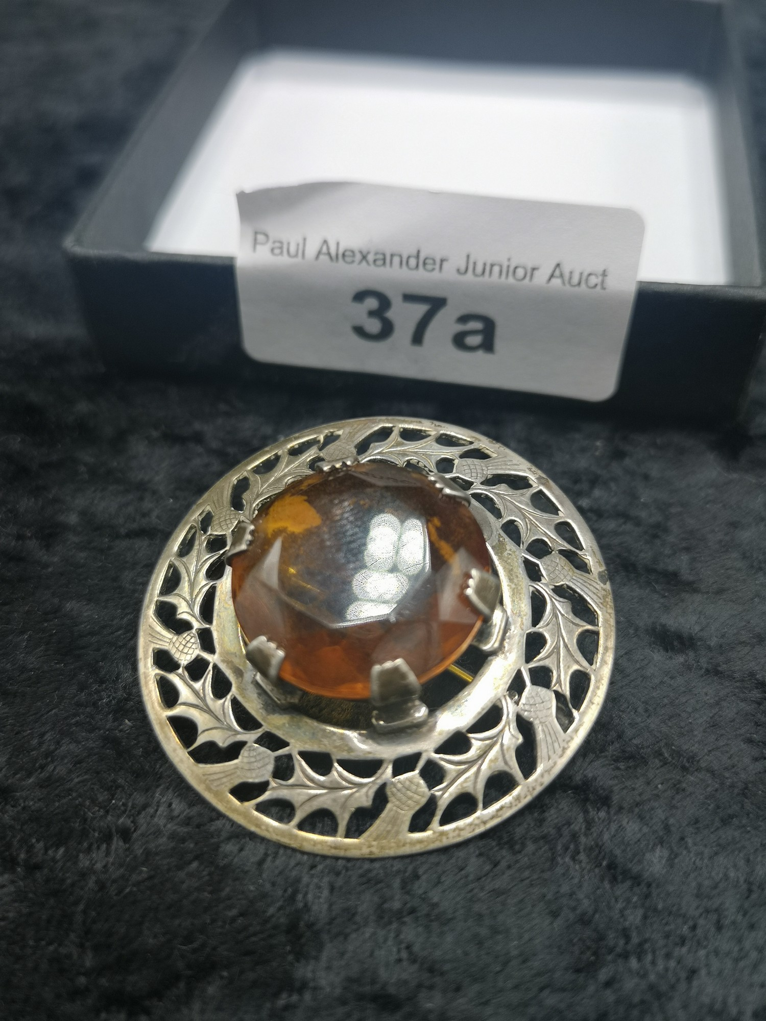 Large Silver Scottish Celtic Plaid Brooch With Large Amber Centre Stone makers wbs. - Image 2 of 3