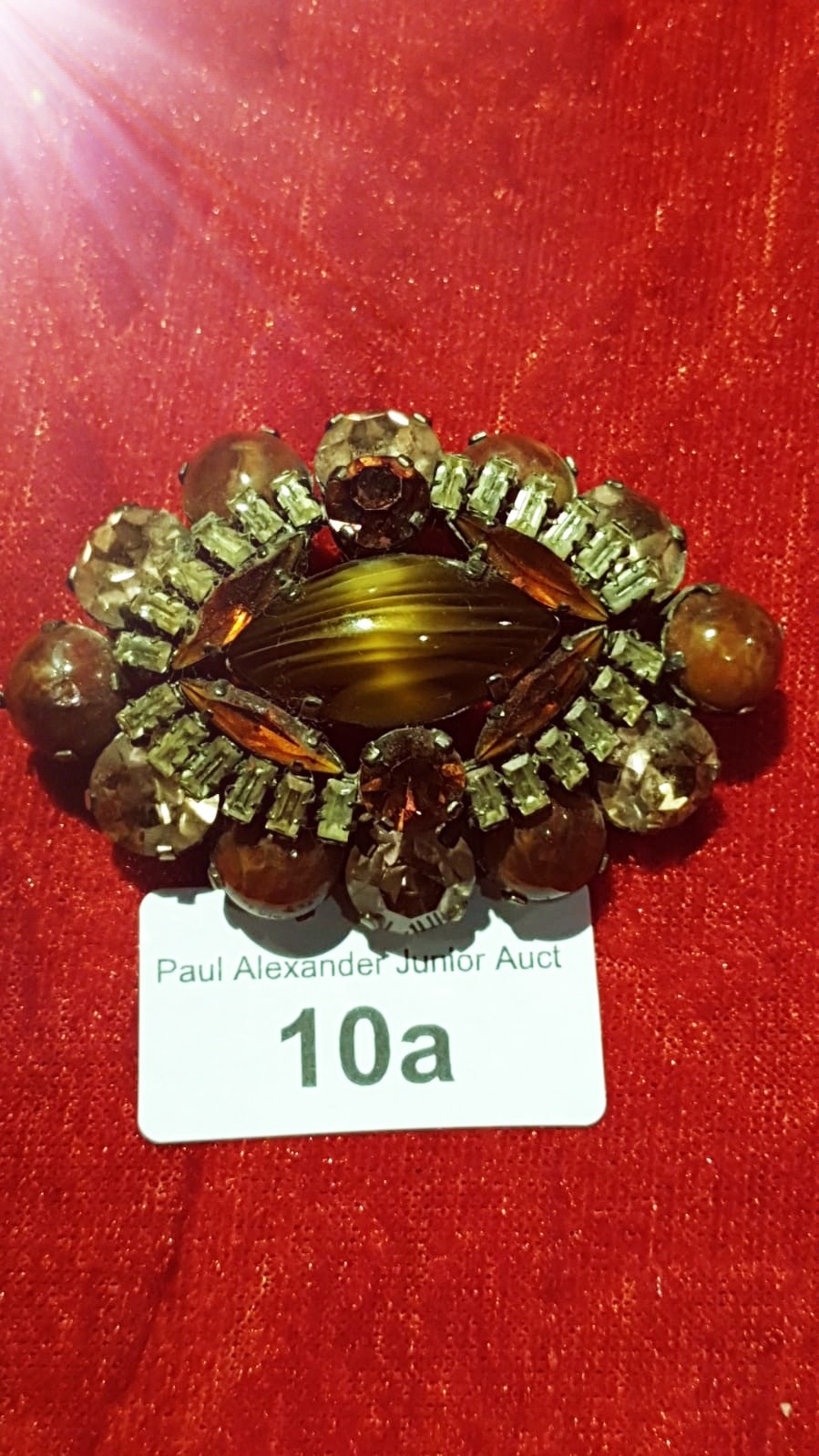 Early large elaborate brooch With Tiger eye Centre with Amethyst and clear Stones Stunning. - Image 2 of 2