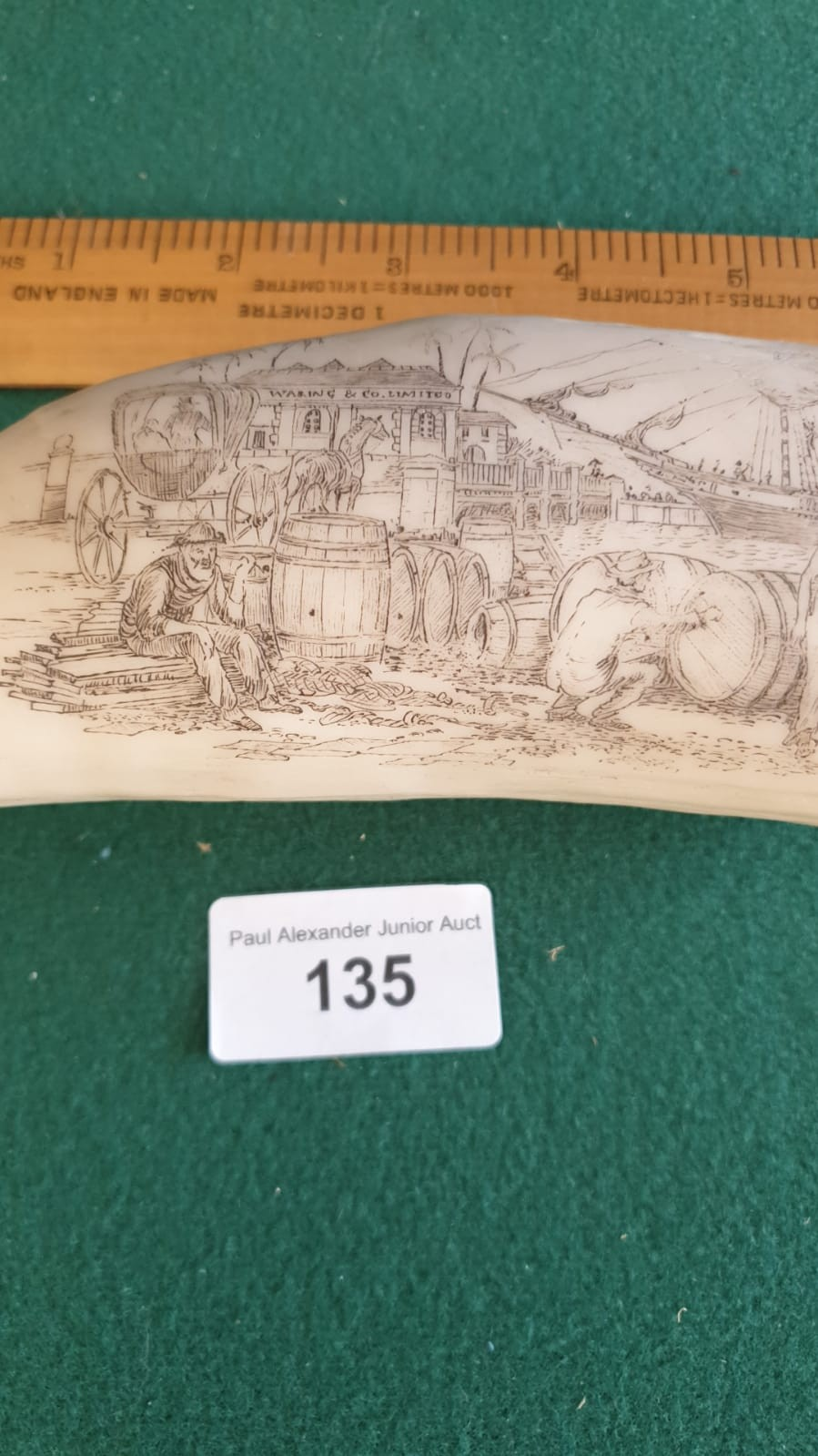 REPRODUCTION CARVED SCRIMSHAW STYLE ITEM . - Image 2 of 3