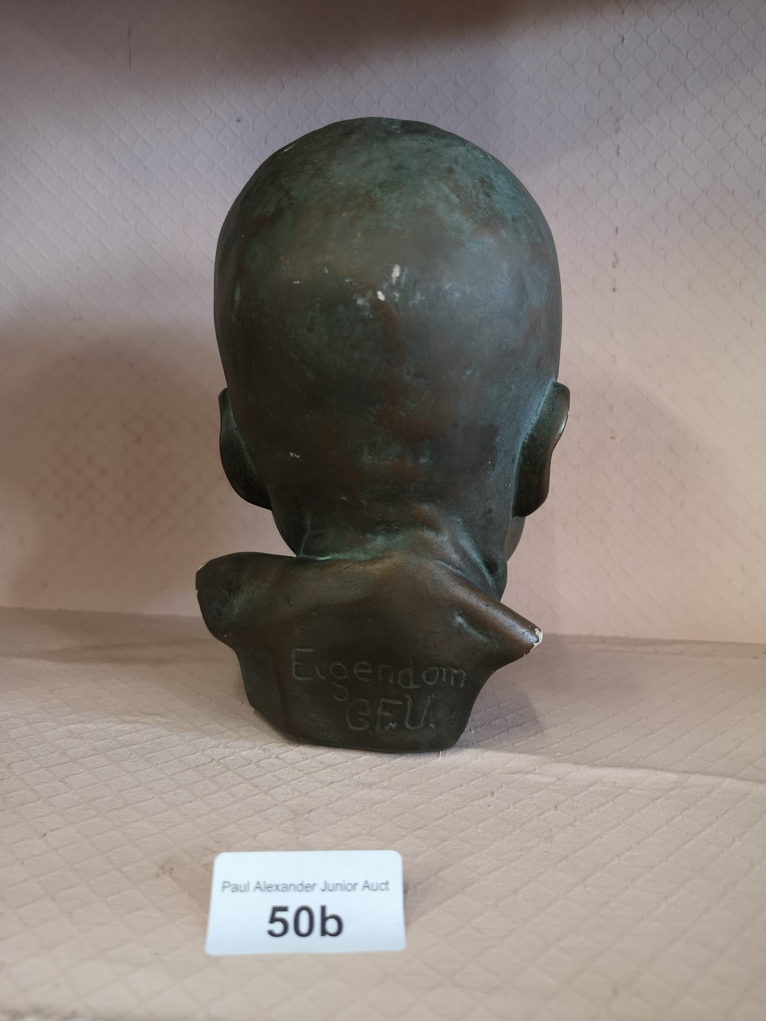 Eigendorn signed sculpture head with GFU intials. - Image 3 of 5