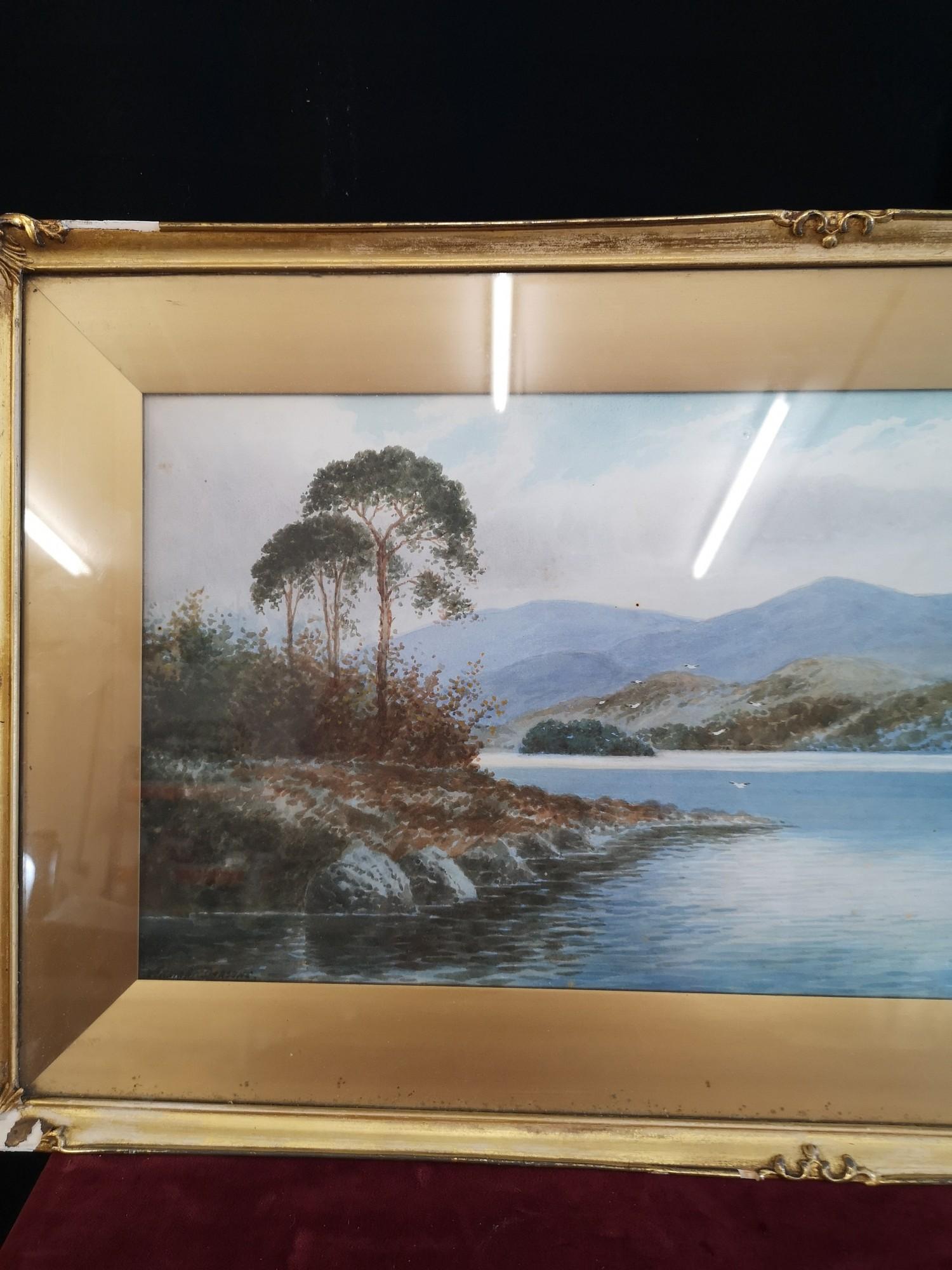 Scottish water colour of loch Highland scene signed Annette Darsons. In gilt frame. - Image 2 of 4