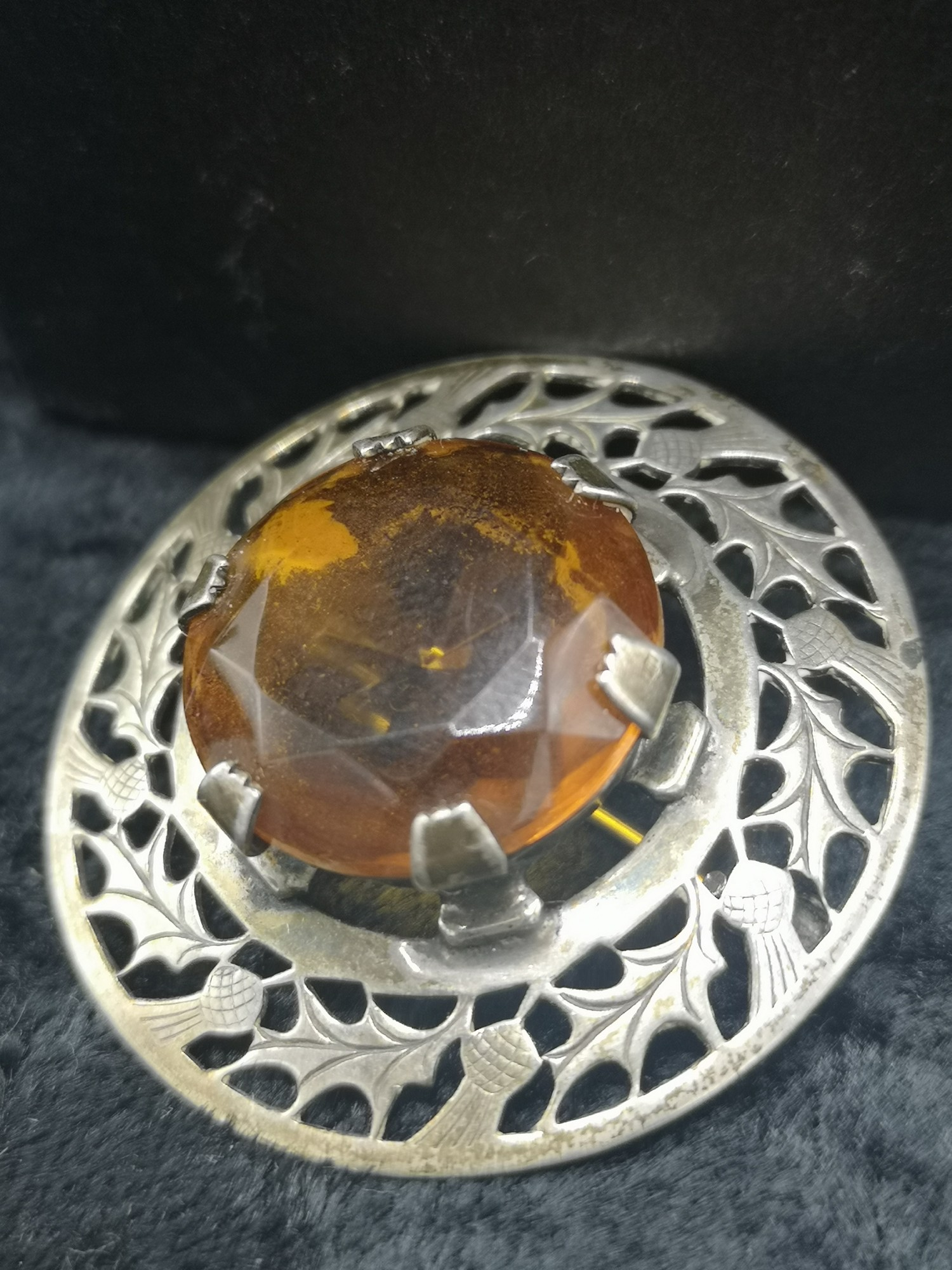 Large Silver Scottish Celtic Plaid Brooch With Large Amber Centre Stone makers wbs.