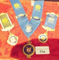 2 Grand Lodge Jewels 1 silver with sash, badges etc.